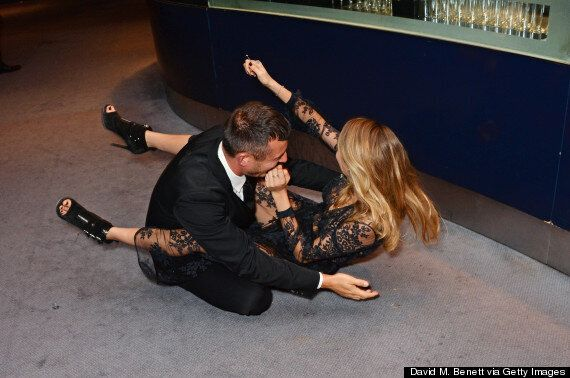 GQ Men Of The Year Awards 2014: Cara Delevingne Takes A Fall... And Drags Jonathan Saunders Down With...