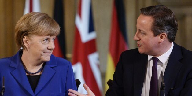 Prime Minister David Cameron with German Chancellor Angela Merkel during a press conference at 10 Downing...