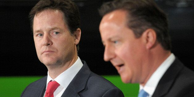 Prime Minister David Cameron and Deputy Prime Minister Nick Clegg give a speech at the Soho Depot in