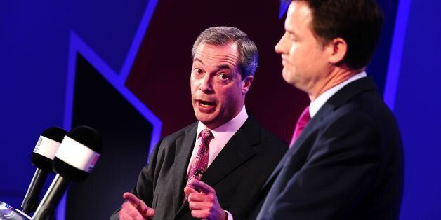 Deputy Prime Minister Nick Clegg (right) and Ukip leader Nigel Farage, hosted by LBC's Nick Ferrari,...