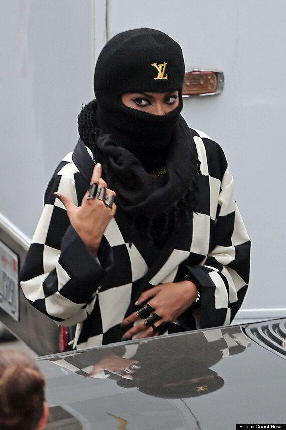 Beyonce Wears Designer Balaclava As She Leaves Studio In LA