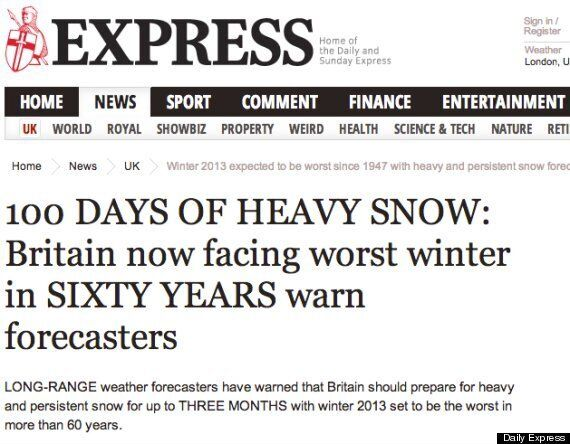 Daily Express 'Worst Winter In 100 Years' Panic-Inducing Headline May Not Be