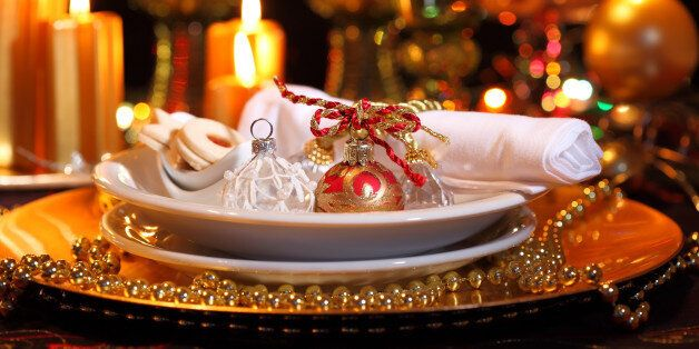 luxury place setting in golden...