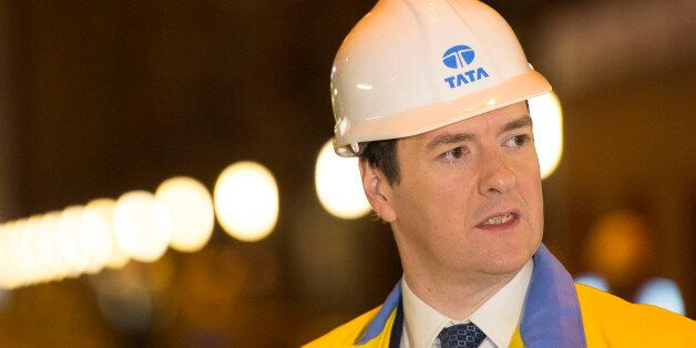 PORT TALBOT, WALES - MARCH 25: Chancellor George Osborne during a visit to Tata Steel to see how it has...
