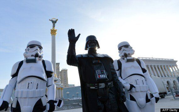 Star Wars Sith Lord Darth Vader Standing As President Of Ukraine