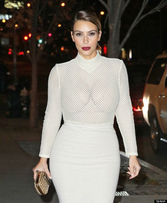 Kim Kardashian Steps Out In Nude See-Through Top At Mario Testino Event