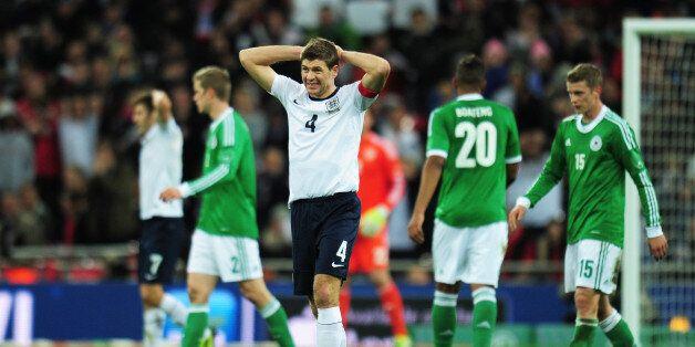 LONDON, ENGLAND - NOVEMBER 19: Steven Gerrard of England reacts during the international friendly match...