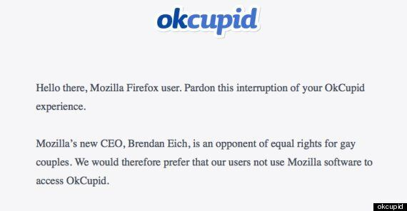 OKCupid Tells Mozilla Firefox Users To Switch Browsers Over Brendan Eich Gay Rights