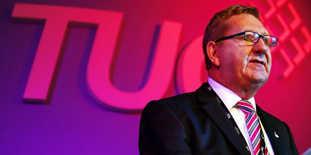 Leader of Unite Len McCluskey addresses delegates at the TUC Congress at Congress house