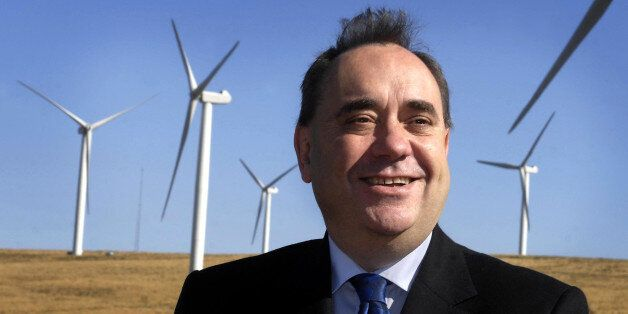 First Minister Alex Salmond during a visit to Crystal Rig wind farm in East