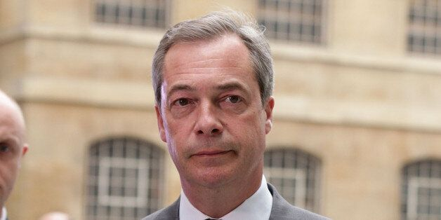Ukip leader Nigel Farage arriving at BBC Broadcasting House, London, for his second televised debate...