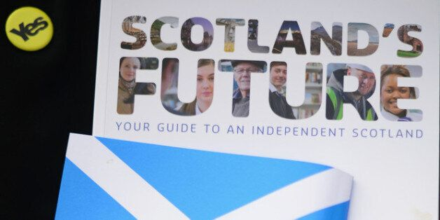 GLASGOW, SCOTLAND - MARCH 29: Generation Yes campaigners leaflet for the Scottish independence referendum...