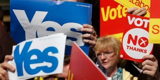 Yes supporters crash a Labour Better Together rally on Buchanan Street in Glasgow, as the campaign ahead...