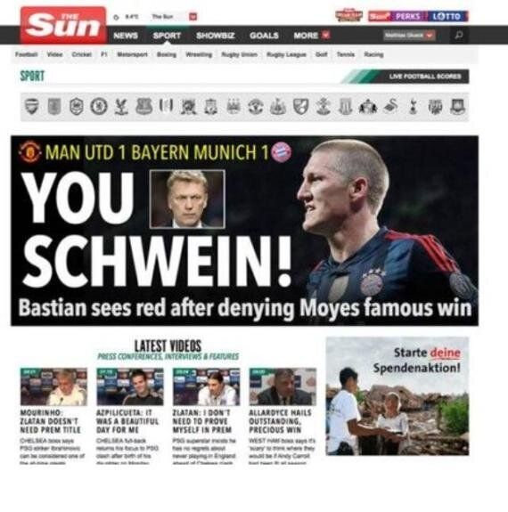Bayern Munich Ban The Sun And Mirror Over Bastian Schweinsteiger