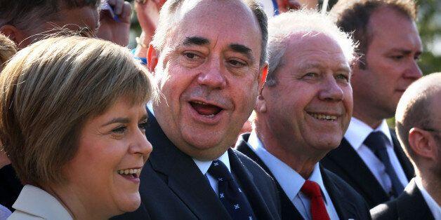 Nicola Sturgeon, Alex Salmond and Jim Sillars talk to the press during a visit to Edinburgh campaigning...