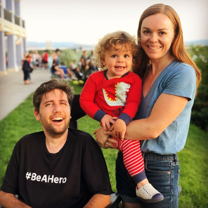 Ady Barkan with his wife, Rachael King, and their son, Carl.