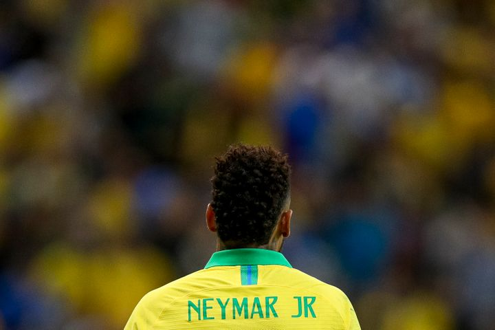 Soccer star Neymar Jr. at an international friendly match between Brazil and Qatar on June 5. The athlete has been accused of