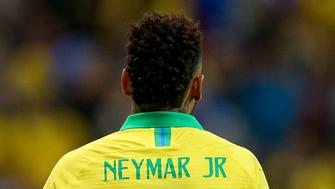 BRASILIA, BRAZIL - JUNE 05: Neymar Jr. of Brazil reacts during the International Friendly Match between Brazil and Qatar at Mane Garrincha Stadium on June 5, 2019 in Brasilia, Brazil. (Photo by Buda Mendes/Getty Images)