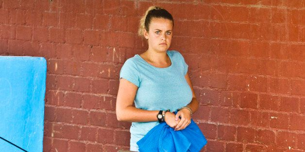 Briton Melissa Reid, 19, who was arrested at Lima's airport carrying cocaine in their luggage, arrives...