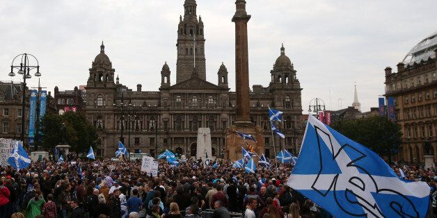 Supporters at a Yes Rally in George Square ahead of voting in the Scottish Referendum on