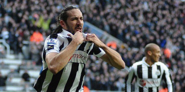 NEWCASTLE, ENGLAND - FEBRUARY 02: Jonas Gutierrez of Newcastle United celebrates scoring the opening...