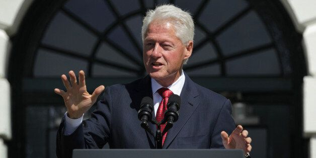 WASHINGTON, DC - SEPTEMBER 12: Former U. S. President Bill Clinton speaks during an AmeriCorps Pledge...