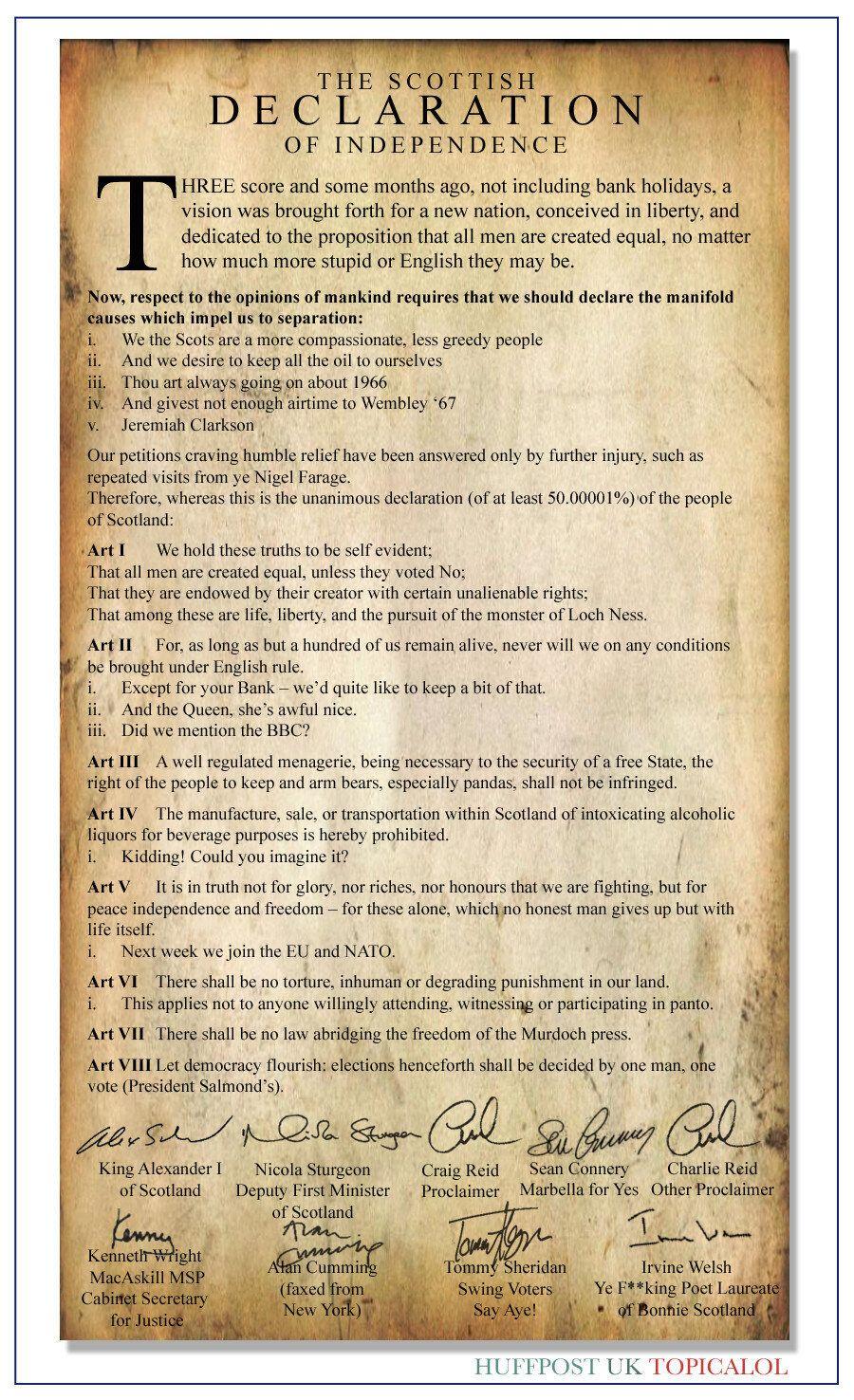 REVEALED: The Scottish Declaration Of