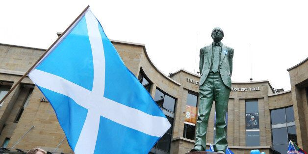 The Donald Dewar statue with a Yes sticker in Buchanan Street, Glasgow, ahead of the Scottish independence...