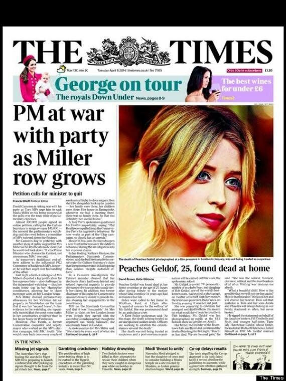 Peaches Geldof And Paula Yates 'Together Again' Metro Headline Prompts