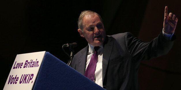 TORQUAY, ENGLAND - FEBRUARY 28: William Dartmouth UKIP MEP speaks at the UKIP 2014 Spring Conference...