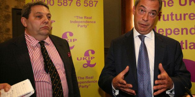 Ukip leader Nigel Farage and Ukip European election candidate David Coburn (left) attend a rally at the...