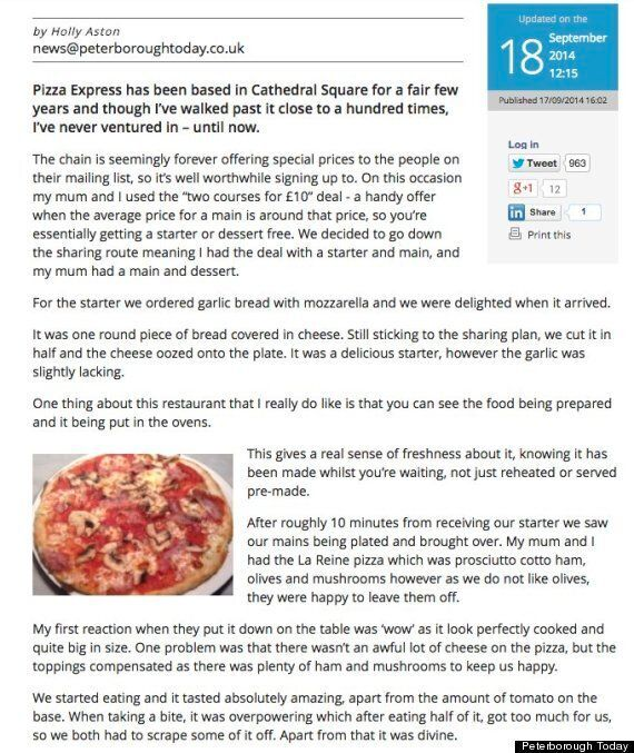 Work Experience Girl's Pizza Express Review Is Totally Utterly Awesome, Goes