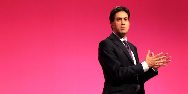 Labour Leader Ed Miliband on stage at Manchester Central, during the Labour Party Annual