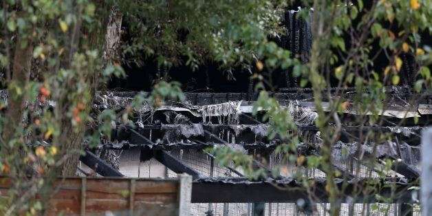 The scene at Manchester Dogs Home, Manchester, after a blaze killed more than 50