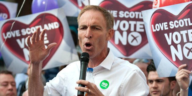 Jim Murphy MP, Shadow Secretary of State for International Development, speaks from a soapbox in support...