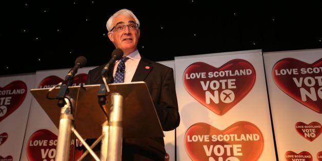 Leader of the Better Together campaign Alistair Darling makes a speech at The Marriot hotel in Glasgow....