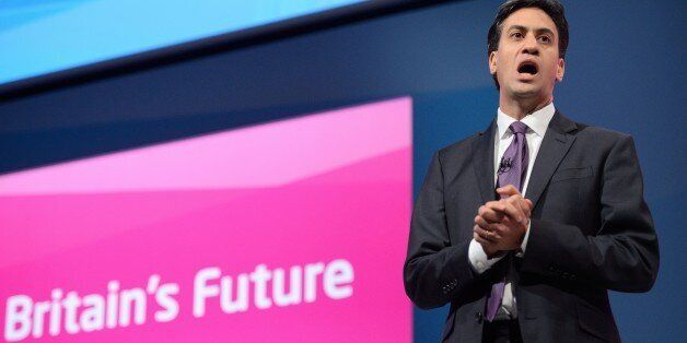 Leader of Britain's Labour Party Ed Miliband speaks to delegates at the conclusion of the Scotland Report...