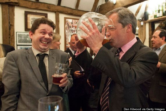 Nigel Farage Drinks Insanely Large Glass Of Beer, Looks Very Happy About
