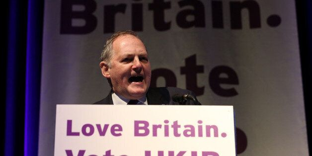 TORQUAY, ENGLAND - MARCH 01: William Dartmouth UKIP MEP speaks on stage at the UKIP 2014 Spring Conference...