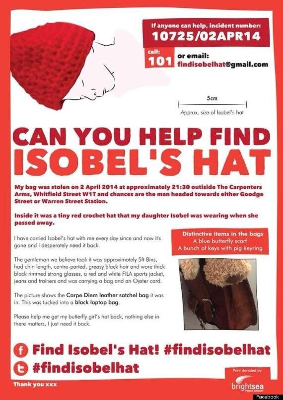 #findisobelhat: Grieving Mother Appeals For Bag Thief To Return Hat Her Baby Daughter Was Wearing When...