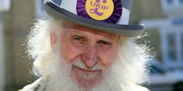 UKIP supporter Roger Henson on the local campaign trail in Ramsey