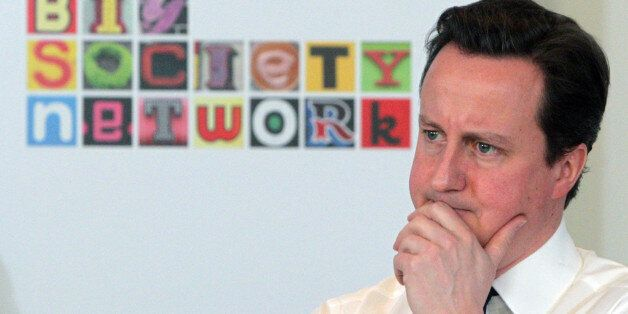 British Prime Minister David Cameron makes a speech on the 'Big Society' to social entrepreneurs at Somerset...