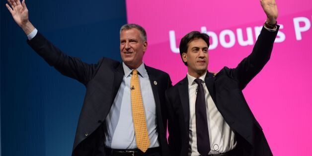 Mayor of New York City Bill De Blasio (left), with Labour leader Ed Milliband, before he addresses the...