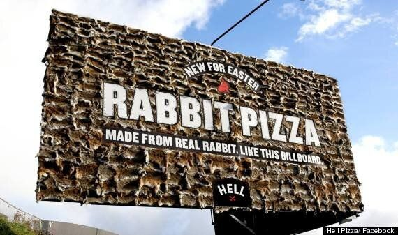 Rabbit Pizza: Hell Pizza Promotes Easter On Billboard Nailed With Hundreds Of Animal Pelts