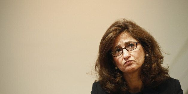 Nemat Shafik, deputy governor for markets and banking at the Bank of England, listens during the bank's...