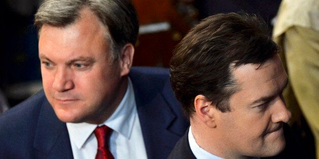 Chancellor of the Exchequer George Osborne and shadow chancellor Ed Balls attend the State Opening of...