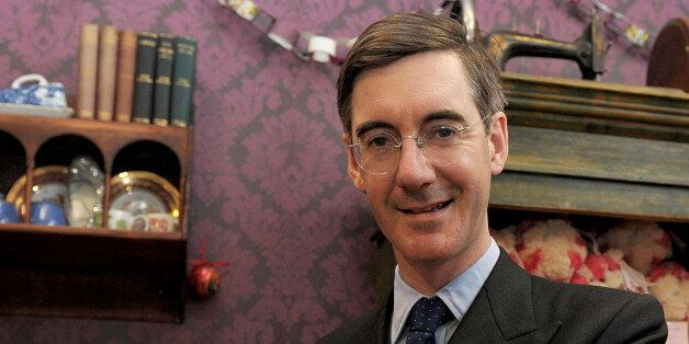 LONDON, ENGLAND - NOVEMBER 03: (EXCLUSIVE COVERAGE) Jacob Rees-Mogg visits the new Bagpuss Pop-up Shop...