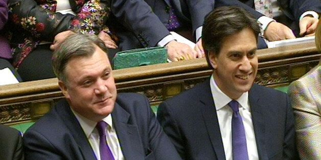 Shadow Chancellor Ed Balls (left) and Labour party leader Ed Miliband during Prime Minister's Questions...