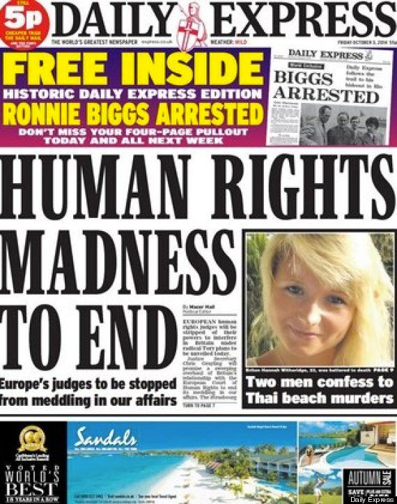 Daily Express And Mail Celebrate The End Of Human Rights, A Horrified Twitter