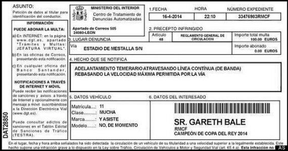 Gareth Bale Goal: Real Madrid Winger Receives 'Speeding Ticket' From Valencia
